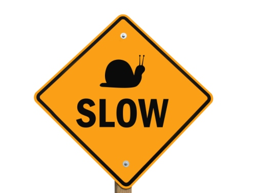 slow warning sign isolated